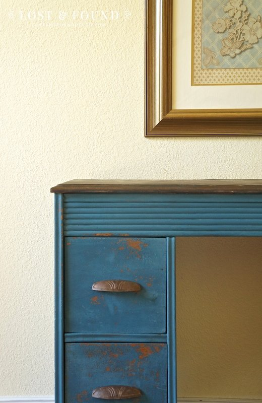 Flow Blue Milk Paint Desk Makeover